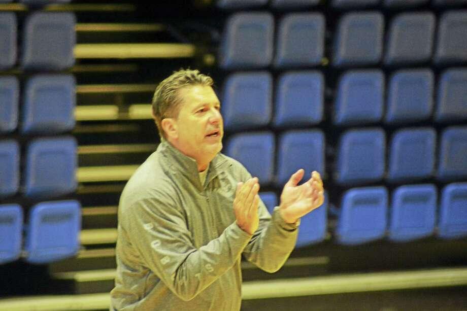 New Quinnipiac men's basketball associate head coach Tom Pecora during a recent summer practice. Photo: Photo CourteSy Of Quinnipiac Athletics