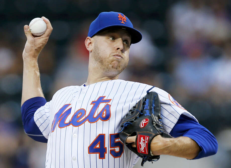 Mets starting pitcher Zack Wheeler throws during the first inning on Monday. Photo: Kathy Willens — The Associated Press   / Copyright 2017 The Associated Press. All rights reserved.