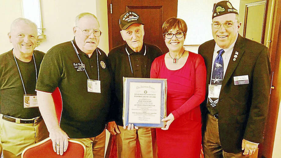 From left: American Legion members Bob Coffey, Bristol; Dave Peplau, Bristol; Angelo DellaCamera, West Haven;  state Rep. Pam Staneski, R-Milford; and Tom Flowers, vice-commander of the American Legion for the State of Connecticut. Photo: CONTRIBUTED PHOTO
