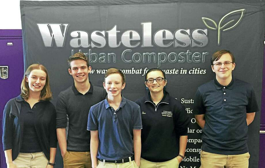 ESUMS students Nora Heaphy, Owen Heaphy, Ethan Weed, Teresina Berni and Maximilian Fleischmann will travel to Los Angeles for an award ceremony for their urban composting invention. Photo: CONTRIBUTED PHOTO