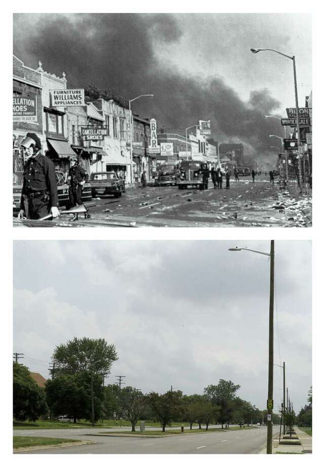 This combination of photos from July 1967 and 2017 shows police officers guarding businesses on 12th Street on Detroit's westside during riots, and the same view 50 years later, looking south on Rosa Parks Boulevard, renamed from 12th Street. (AP Photo) Photo: AP / Copyright 2017 The Associated Press. All rights reserved.