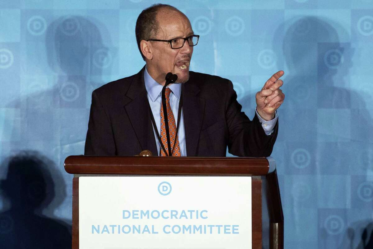 In this Feb. 25, 2017 photo, Tom Perez, speaks in Atlanta. As Democrats look to reverse Republicans' monopoly control in Washington and the GOP advantage in state capitals, the party is still looking for a crisp, simple message for voters.