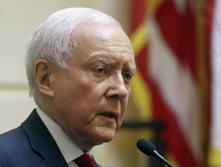 Rick Bowmer/the associated press   Senate Finance Committee Chairman Sen. Orrin Hatch, R-Utah speaks in Salt Lake City. Photo: AP / AP