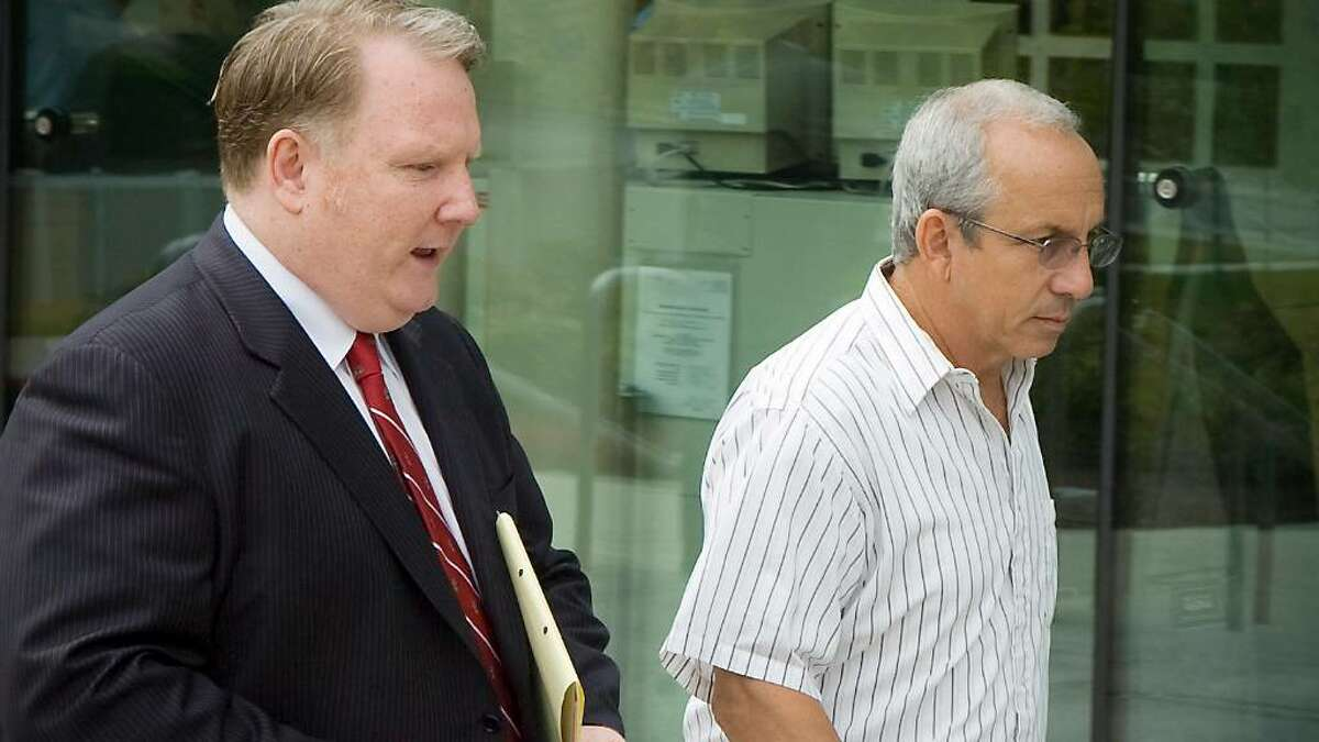 James Santorella leaves State Superior Court in Stamford with his attorney Stephen Seeger in Stamford, Conn. on Wednesday June 16, 2010.