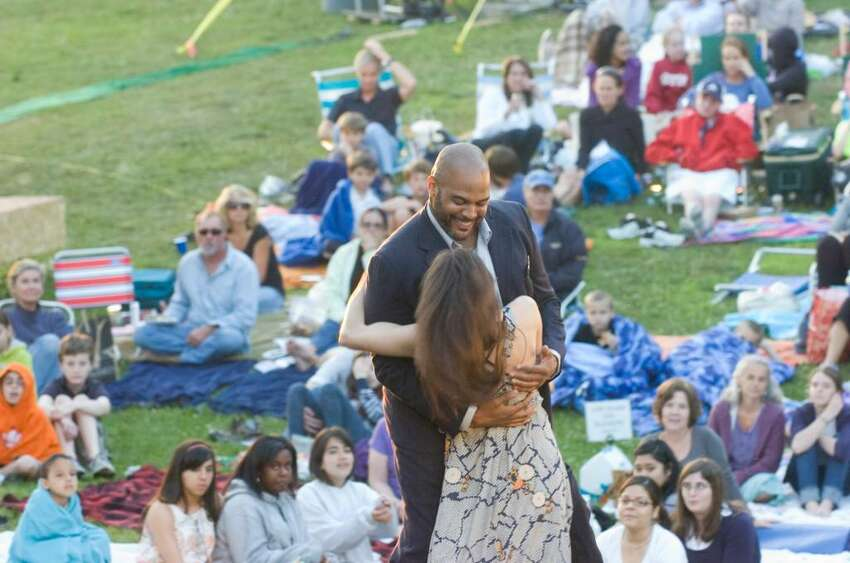 Stephanie Fieger plays Desdemona and Victor Williams, Othello during the opening night of Shakespeare on the Sound's presentation of Othello at Pinkney Park in Rowayton Tuesday June 15, 2010. Shows start at 730pm and continue through June 26 with no Monday performances.