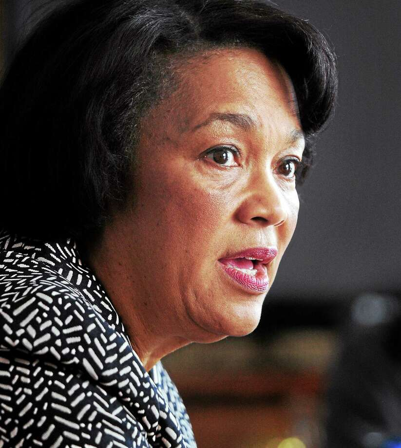 FILE PHOTO  New Haven Mayor Toni Harp speaks with the Editorial Board of the New Haven Register. Photo: Journal Register Co.