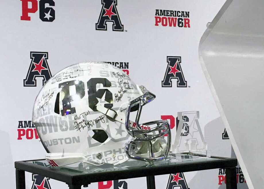 The P6 football helmet is displayed at American Athletic Conference media day in Newport, R.I., Tuesday. The conference is trying to brand itself as a peer to the most powerful leagues in college football in the hopes for creating a Power Six. Photo: RALPH RUSSO — THE ASSOCIATED PRESS   / AP