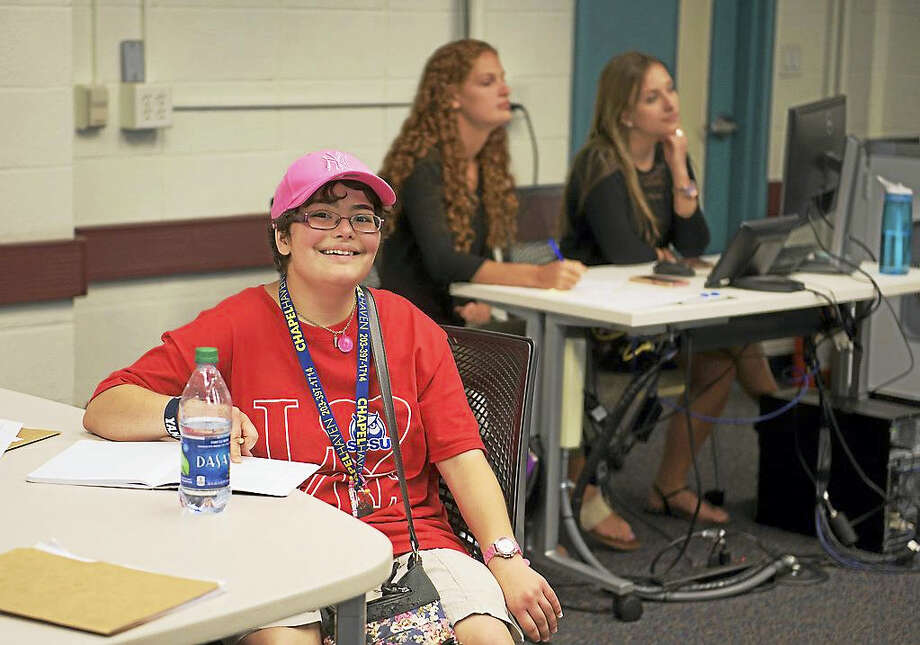 SCSU has partnered with Chapel Haven's Asperger Syndrome Adult Transition Program, in which students and Chapel Haven clients collaborate in a Fundamentals of Social Communication class. Photo: Contributed Photo / Isabel Chenoweth / SCSU