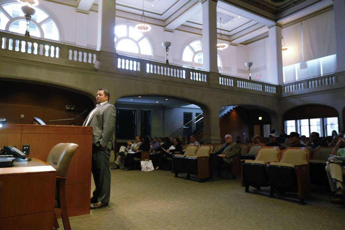 Brian Chessman speaks to the City Council on Wednesday to voice his opposition to annexation. He is in the process of closing on a home he's building and didn't factor in having to pay city taxes if his property is annexed. The council discussed several annexation options.