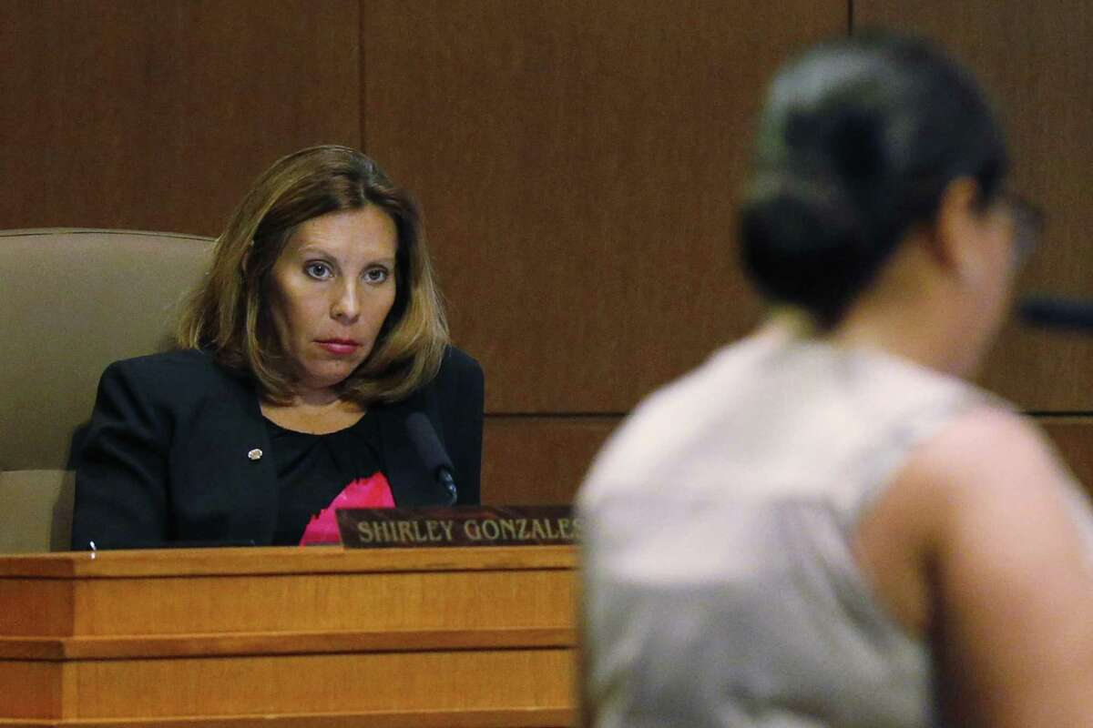 District 5 Councilmember Shirley Gonzales, shown in this Aug. 2 photo, went into labor Thursday morning. City officials cited her absence as a reason to delay the vote on the San Antonio Water System's rate increases. They later said the delay was needed to give the council more time to study them.