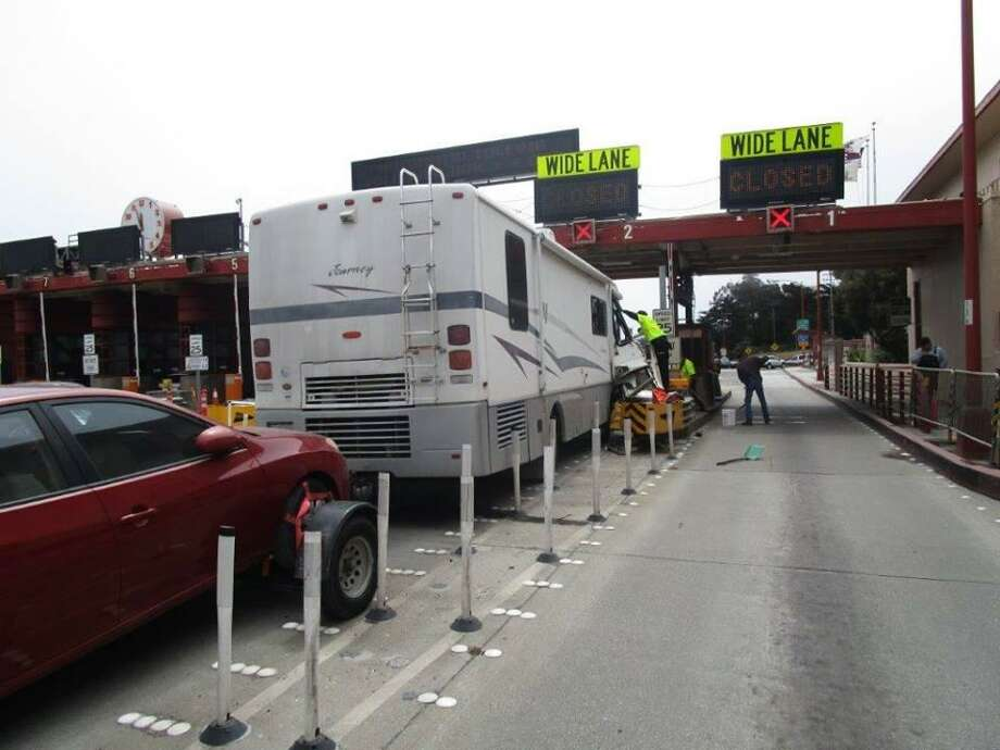 An RV crashed into a toll booth on the Golden Gate Bridge Wednesday, according to the California Highway Patrol. Photo: California Highway Patrol