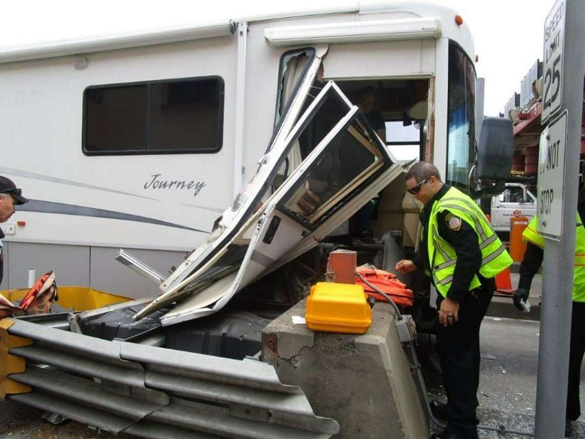 An RV crashed into a toll booth on the Golden Gate Bridge Wednesday, according to the California Highway Patrol.