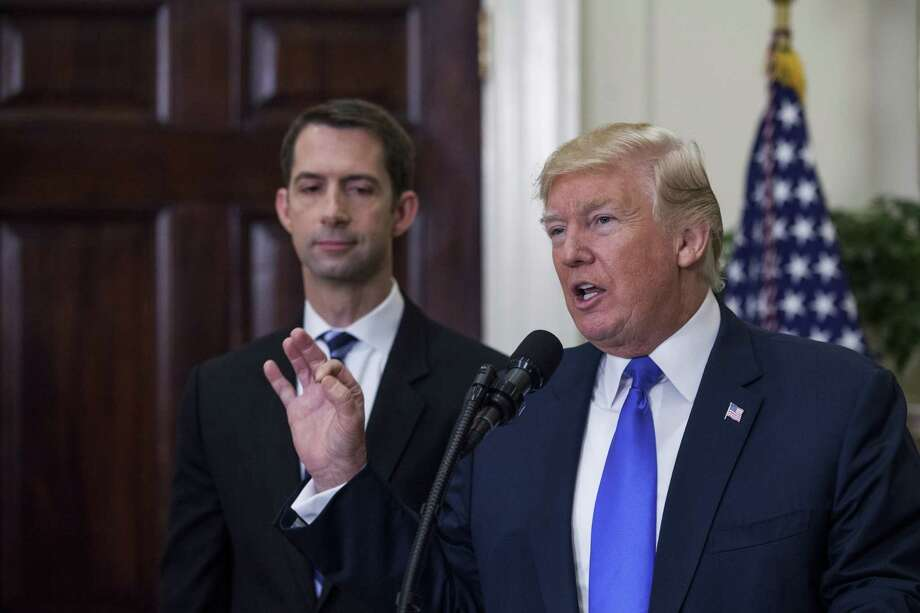 President Donald Trump is endorsing legislation co-sponsored by Sen. Tom Cotton, R-Ark., left. Photo: Zach Gibson / © 2017 Bloomberg Finance LP