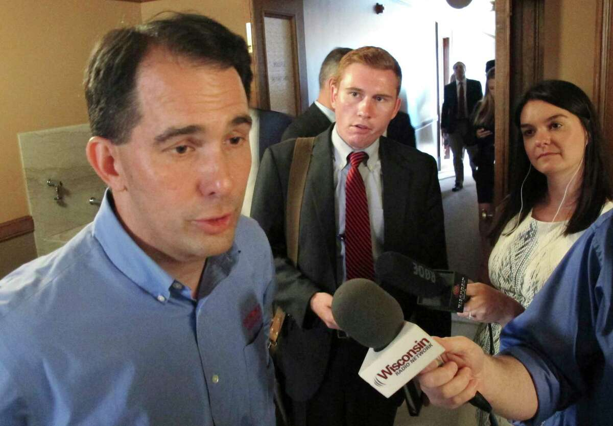 Wisconsin Gov. Scott Walker speaks to the media Tuesday, Aug. 1, 2017, in Madison, Wis. Walker said he does not anticipate there will be