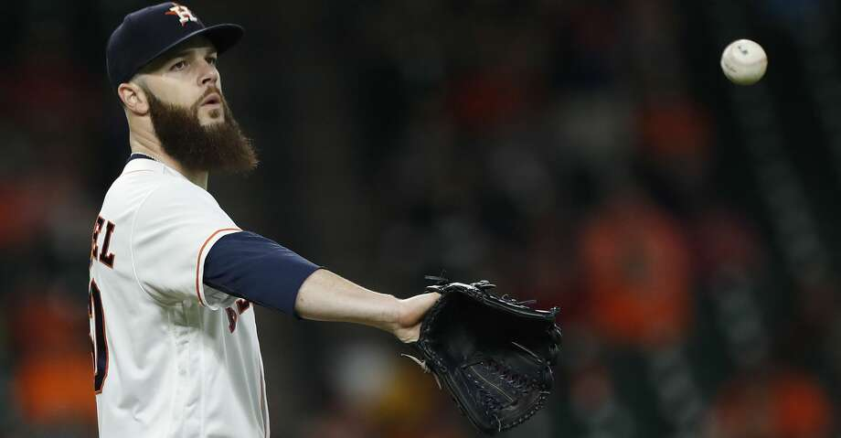 Houston Astros starting pitcher Dallas Keuchel (60) between pitches during the second inning of an MLB game at Minute Maid Park, Wednesday, Aug. 2, 2017, in Houston. ( Karen Warren / Houston Chronicle ) Photo: Karen Warren/Houston Chronicle