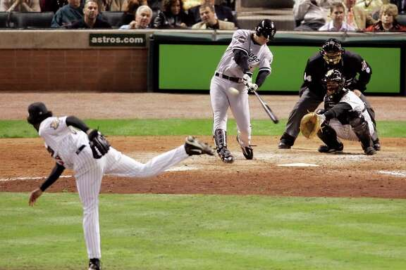 A seemingly insignificant acquisition by the White Sox at the 2005 trade deadline, Geoff Blum had a single at-bat against the Astros in Chicago's World Series sweep but made it a memorable one, connecting off Ezequiel Astacio for a decisive two-run homer in the 14th inning of Game 3.