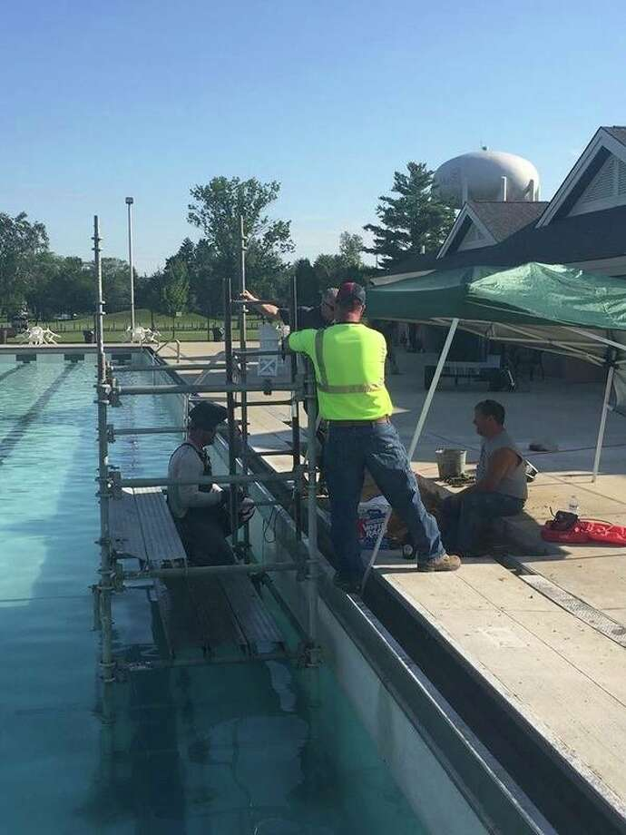 Midland Parks and Recreation posted these photos during the leak at Plymouth Pool.