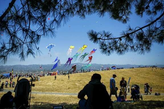 People gather at the Berkeley Marina for the annual Berkeley Kite Festival on Saturday, July 29, 2017.