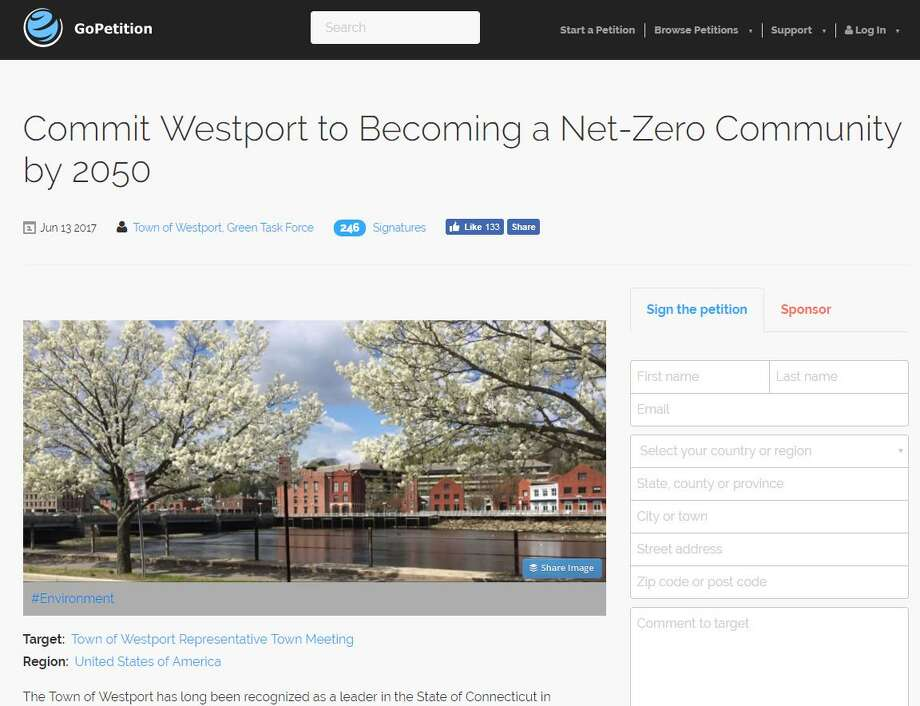Westport is aiming to have zero impact on the enviroment by 2050. A pettion has been set up online for residents to sign. Photo: Contributed / Contributed Photo / Westport News