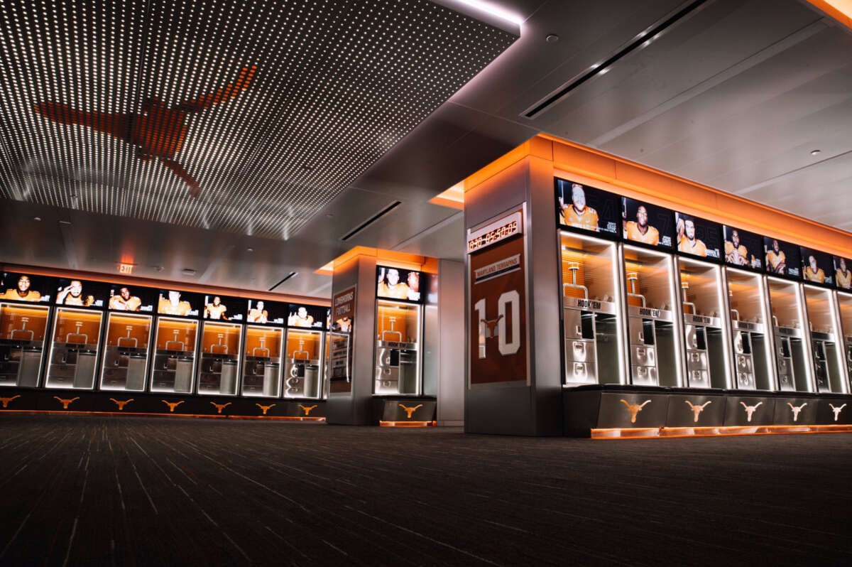 The University of Texas unveiled their remodeled football locker room on Wednesday night. Each player's locker is estimated to have cost more than $8,700.