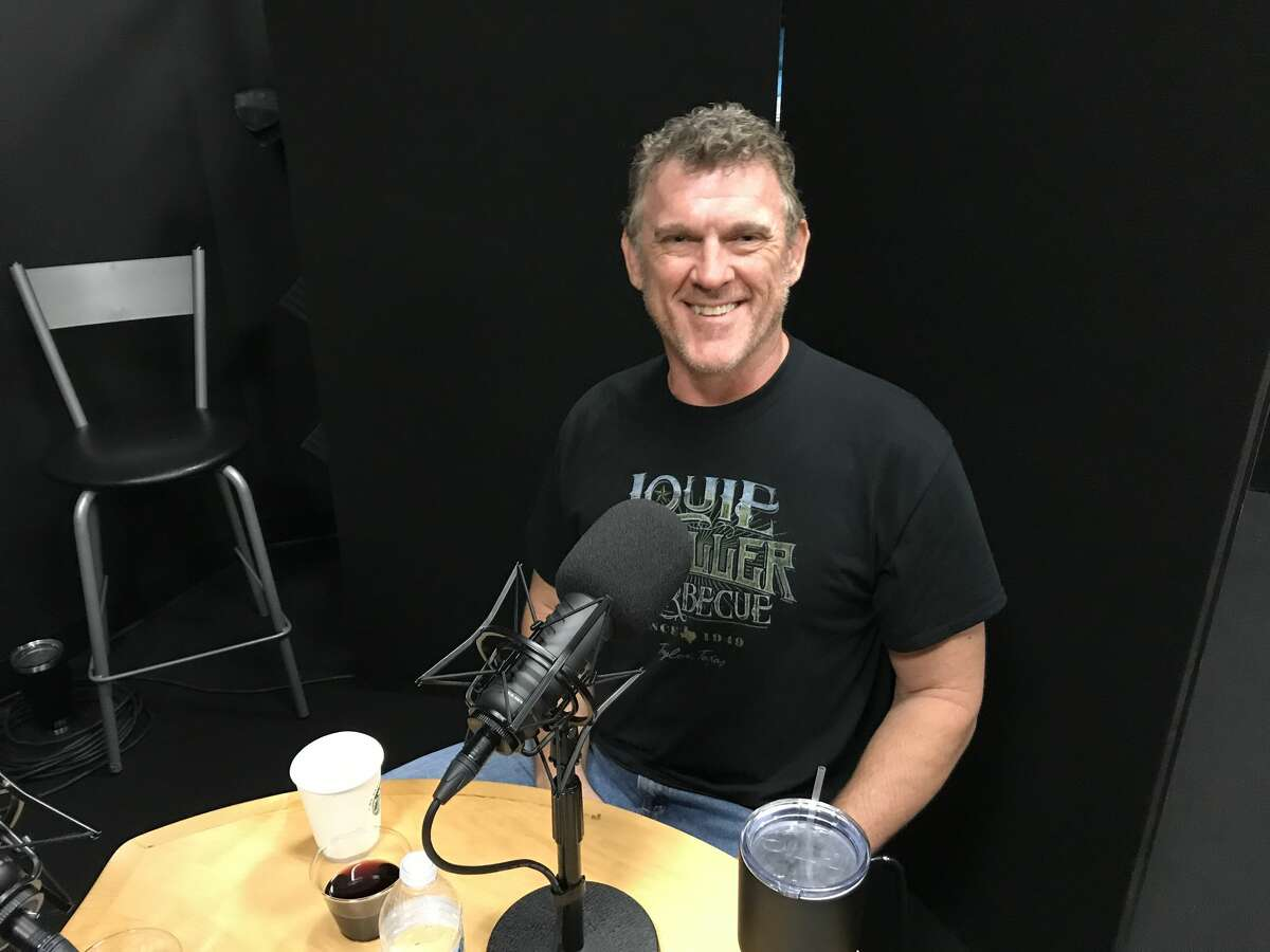 Wayne Mueller of Louie Mueller Barbecue in Taylor at the Houston Chronicle's podcast studio.