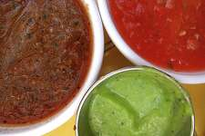 A trio of salsas from La Fonda on Main on North Main.