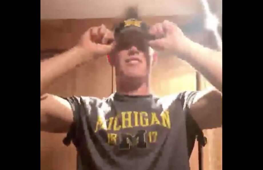 Hamden Hall's Luke Schoonmaker commits to Michigan during a video posted to Twitter on July 25, 2017. Photo: Screenshot Via Twitter
