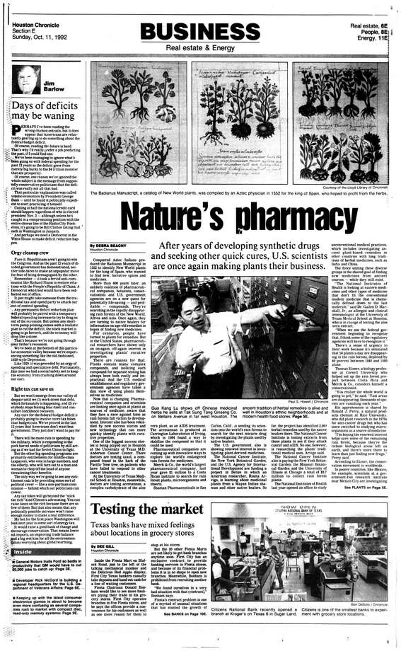 Houston Chronicle inside page - October 11, 1992 - section E, page 1. Testing the market. Texas banks have mixed feelings about locations in grocery stores Photo: HC Staff / Houston Chronicle