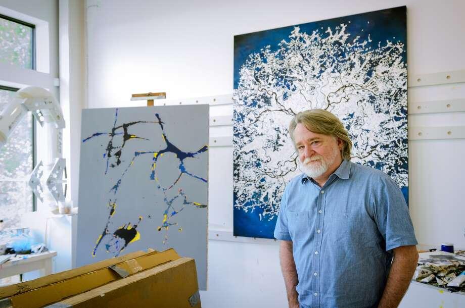 Artist John Calaway in his Acres Homes studio. (Afshar Kharat)