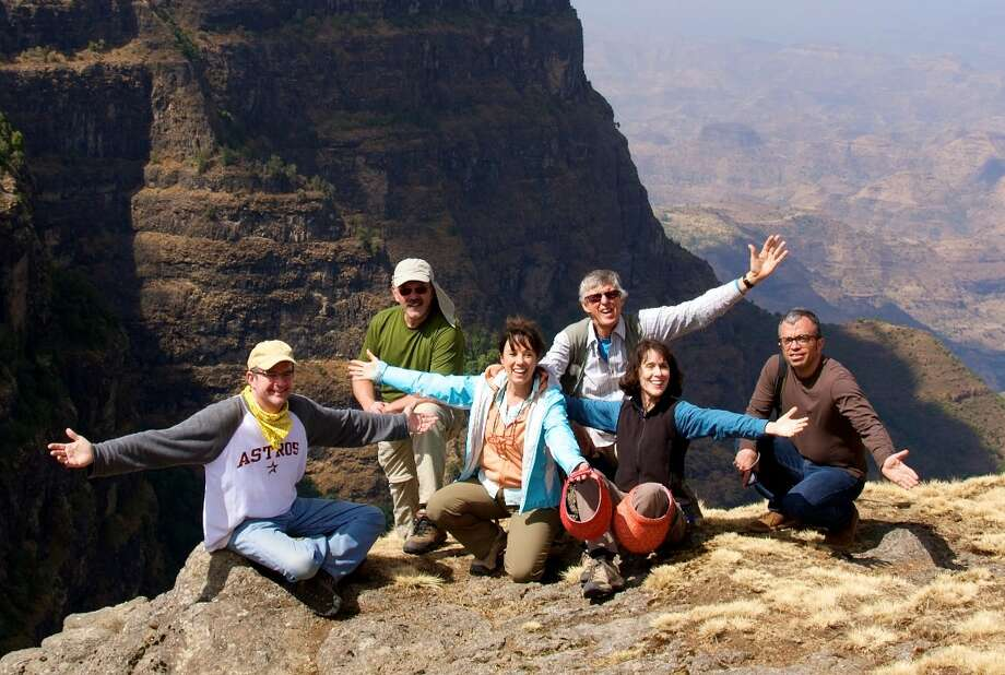 Hiking with friends: David's on the far left; I'm on the far right. Photo: Dennis Abrams