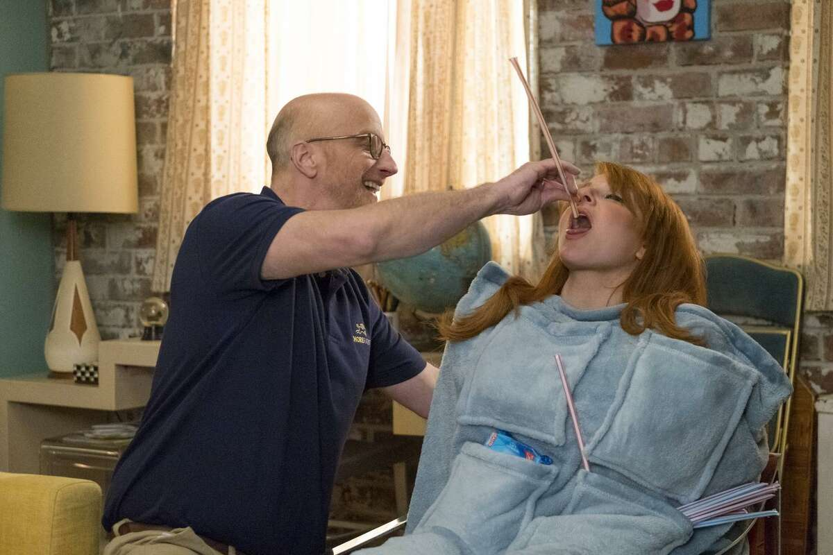 """Chris Elliott (left) guest stars in an episode of """"Difficult People"""" and is seen here with Julie Klausner, the show's creator and co-star who portrays a clueless, self-involved comic."""