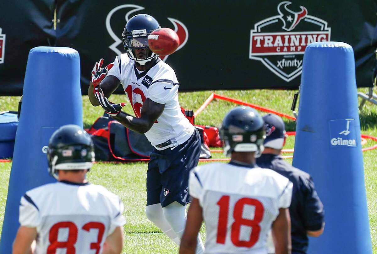 Houston Texans wide receiver DeAndrew White makes a catch while running a drill during training camp at the Greenbrier on Thursday, Aug. 3, 2017, in White Sulphur Springs, W.Va.