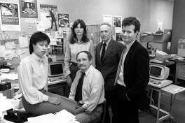Chronicle staff Lisa Chung, Katy Butler, Keith Power, David Perlman & Randy Shilts pose for a photograph in the newsroom March 7, 1985.