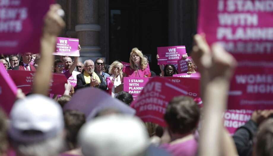 Former state senator Wendy Davis speaks at a rally on the Capitol steps during Planned Parenthood Lobby Day in Austin on April 5, 2017. Photo: Tom Reel, Staff / San Antonio Express-News / 2017 SAN ANTONIO EXPRESS-NEWS