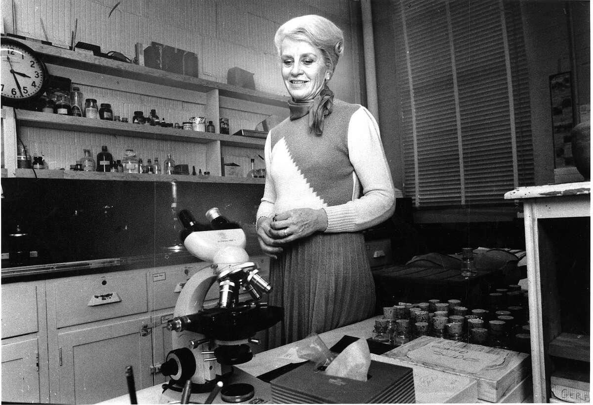 Marian Diamond professor of anatomy and an expert on the brain Here she is examining Einstein's brain in her laboratory Photo ran 02/14/1985