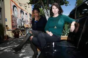 Co-founders Ebony McKinney (left) and Lex Leifheit (right) of Arts for a Better Bay Area, a nonprofit that advocates support for art organizations including meet at the Red Poppy Art House in San Francisco, California, on Thursday, May 28, 2015.