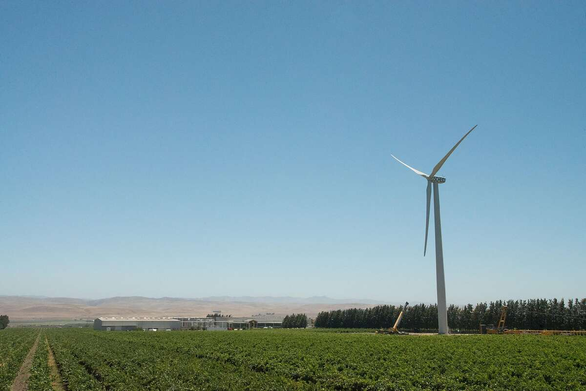 Measured from the top of one of the 132-foot propellers, Scheid Vineyards' �new windmill stands 396 feet tall and is visible for miles, including from Highway 101 four miles south of Greenfield. The 22-revolution-per-minute behemoth went fully operational in August.