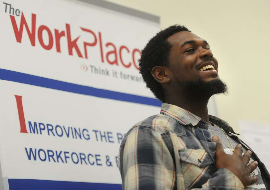Program participant William Roberson, 22, of Bridgeport, tells his story during a visit by U.S. Rep. Jim Himes to YouthBuild Bridgeport, a program teaching city youth to build affordable housing, in Bridgeport, Conn. on Thursday, August 3, 2017. The program also provides GED assistance so that participants can receive industry recognized certifications. Photo: Brian A. Pounds / Hearst Connecticut Media / Connecticut Post