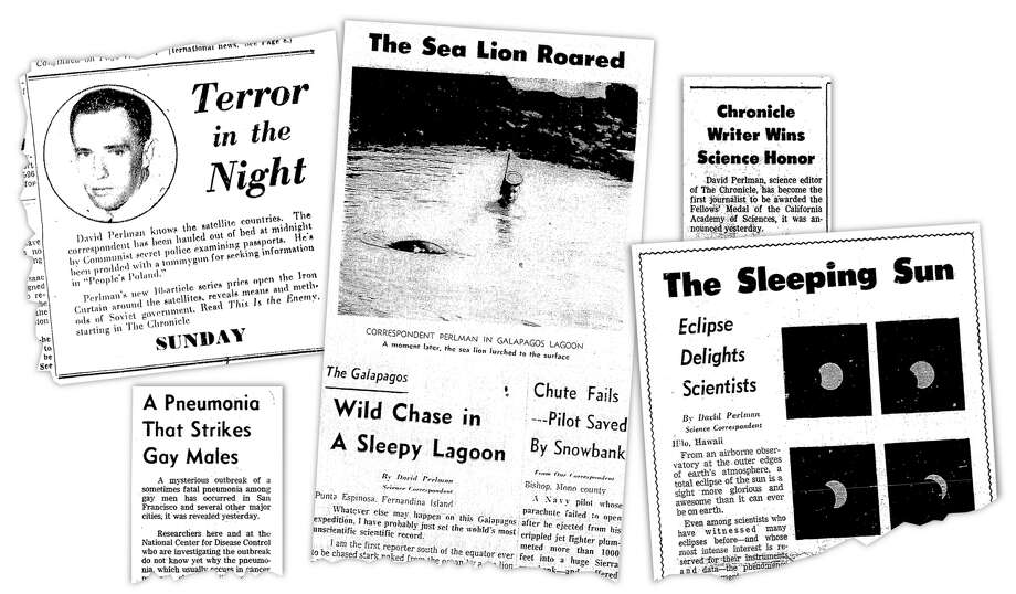 A collage of David Perlman's appearances in the paper over the years — including a promotion of his coverage from behind the Iron Curtain in 1950, an unbylined piece on June 6, 1981 that was perhaps the first in a newspaper on what came to be known as AIDS, a trip to the Galapagos islands in 1964, an acknowledgement of his Fellows' Medal from the California Academy of Sciences in 1984, and a feature on the solar eclipse in 1965.