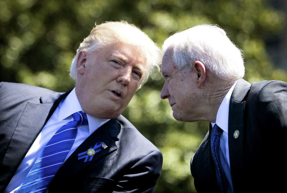 President Donald Trump with Attorney General Jeff Sessions in Washington during more cordial days in May. Lately, however, the president's treatment of Sessions has been anything but cordial. Public humiliation is the strategy. Photo: DOUG MILLS /NYT / NYTNS