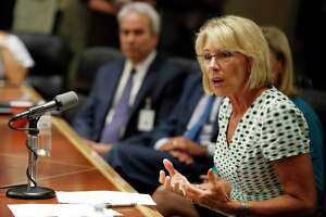 Education Secretary Betsy DeVos speaks with the media July 13 in Washington.