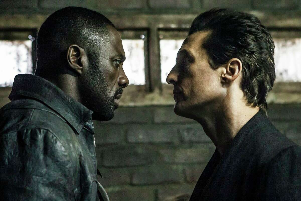 This image released by Sony Pictures shows Idris Elba, left, and Matthew McConaughey in the Columbia Pictures film, The Dark Tower.