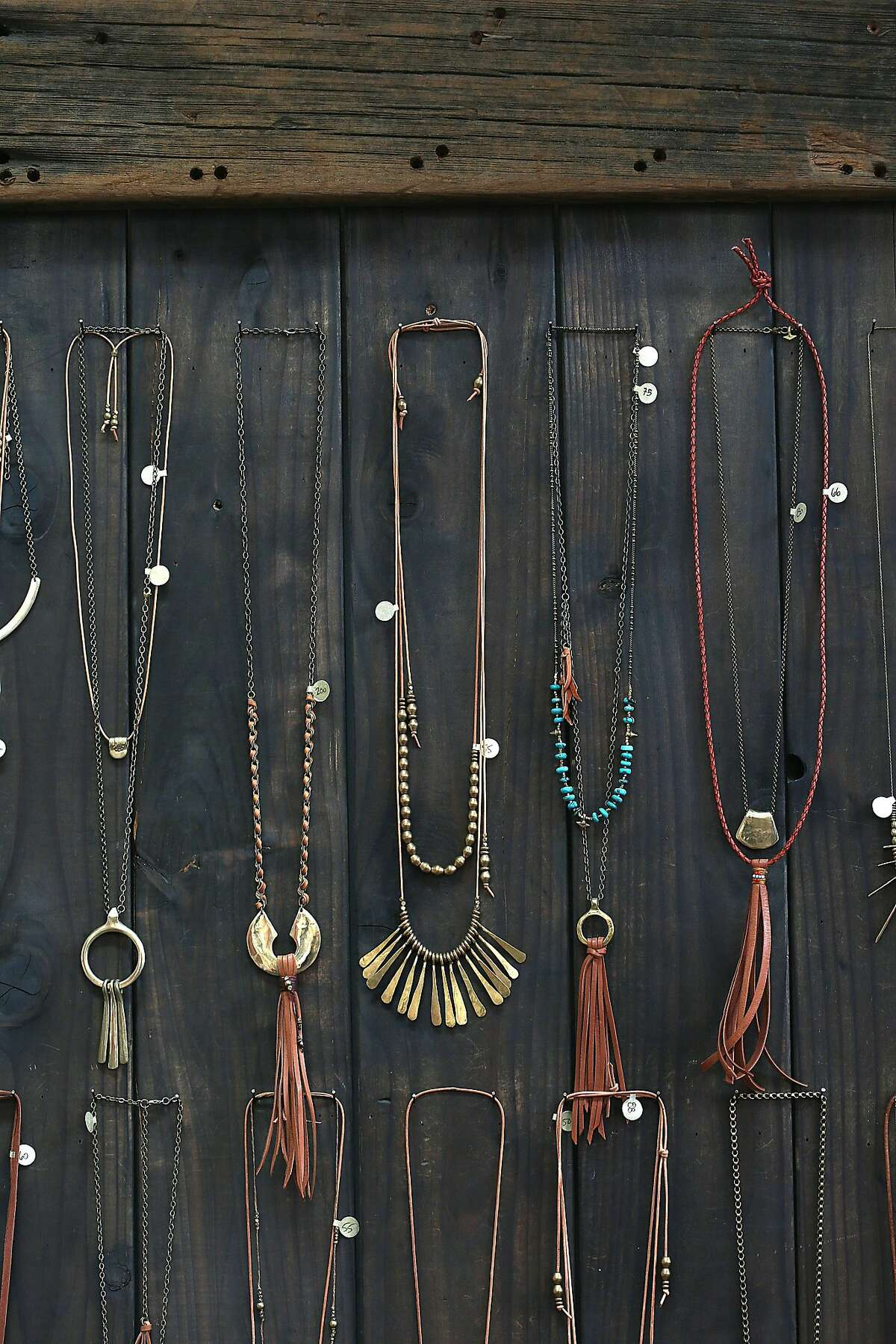 Necklaces from jewelry designer Marisa Haskell of Marisa Mason Jewelry displayed in her studio in Temescal Alley on Monday, July 24, 2017, in Oakland, Calif.