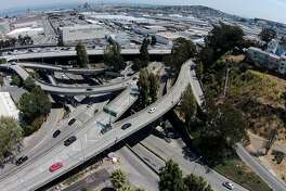 """Highway 101 is seen with many on-and-off ramps near Cesar Chavez Street and Potrero Avenue in an area known as the """"Hairball,"""" Wednesday, Aug. 2, 2017, in San Francisco, Calif."""
