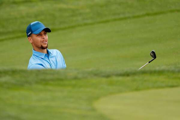 bbdc1b4588c5 ... Stephen Curry watches his bunker shoton the 14th hole during the first  round of the 2017 Ellie Mae Classic golf tournament at TPC Stonebrae in  Hayward.