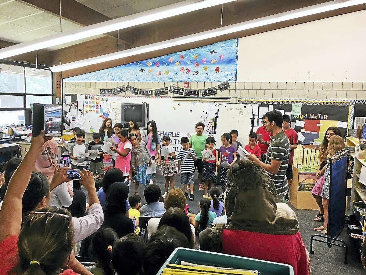 Students in the language enrichment program at Shepherd Glen Elementary School in Hamden