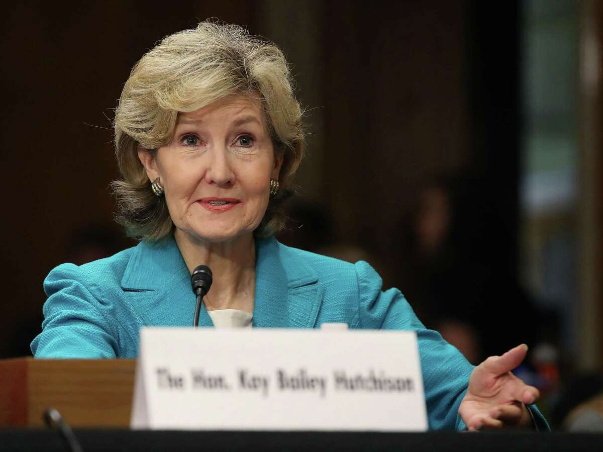 Former Sen. Kay Bailey Hutchison testifies during her confirmation hearing to be the nation's permanent representative to NATO. On Thursday, the Senate confirmed her with an unrecorded voice vote.