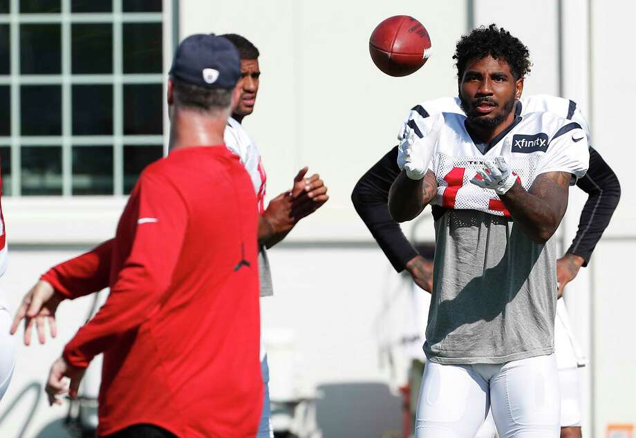 Braxton Miller works on his technique during training camp Wednesday. The spotlight intensifies on the converted QB while WR Will Fuller is out with injury. Photo: Brett Coomer, Staff / © 2017 Houston Chronicle}