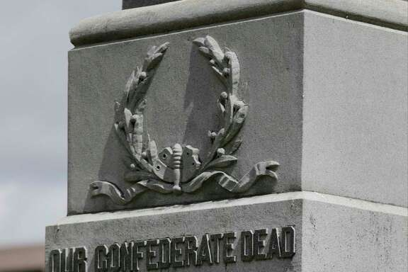 "The Confederate monument at Travis Park in San Antonio has a statue of a confederate soldier and the words, ""Our Confederate Dead."""