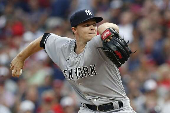 CLEVELAND, OH - AUGUST 03: Sonny Gray #55 of the New York Yankees pitches against the Cleveland Indians in the third inning  at Progressive Field on August 3, 2017 in Cleveland,  Ohio.  The Indians defeated the Yankees 5-1.  (Photo by David Maxwell/Getty Images)